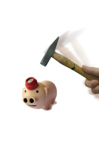 Illustration: Piggy Bank Under a Hammer